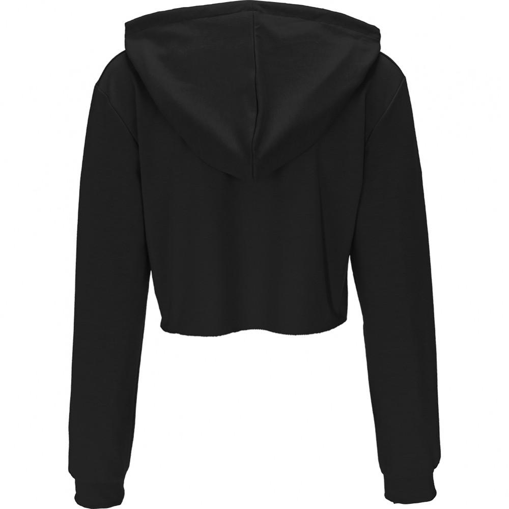 Long Sleeve Black Womens Plain Crop Top Hoodies