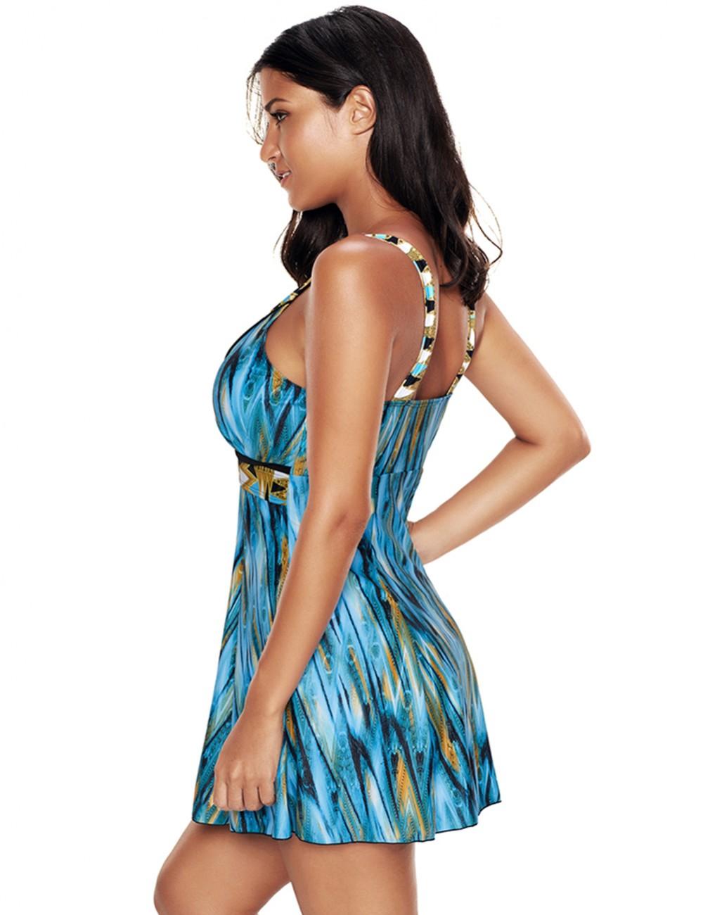Stylish Blue Large Size Wide Straps Bating Dress Sleeveless