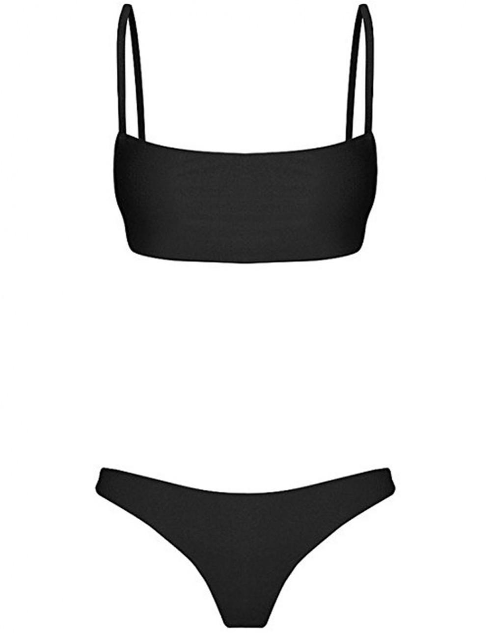Black Open Back Bikini Set Hook Eye Closure Leaky Hip For Beach Days