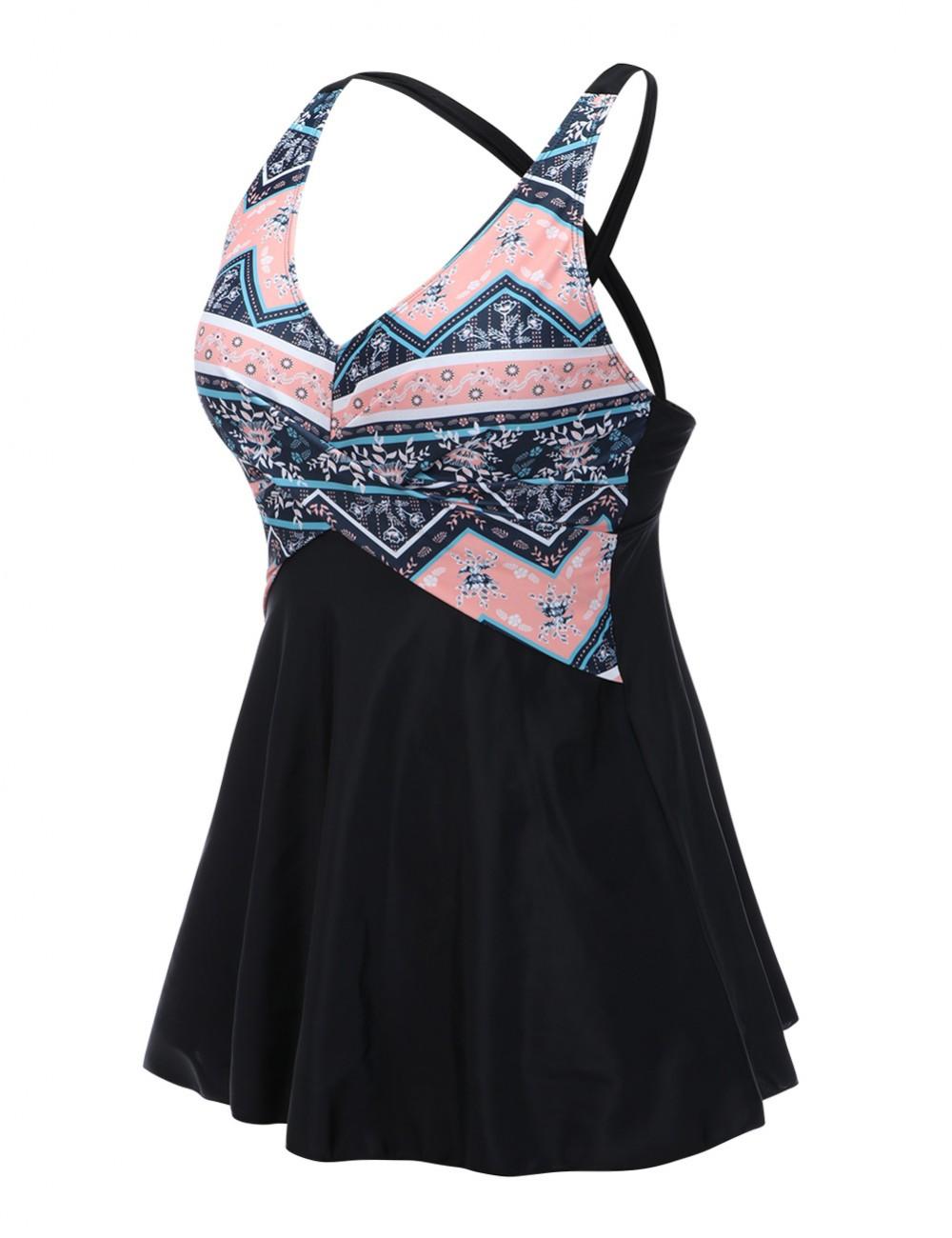 Explorer Plus Size 2 Pieces Beach Dress Plunging Neck Womens Fashion
