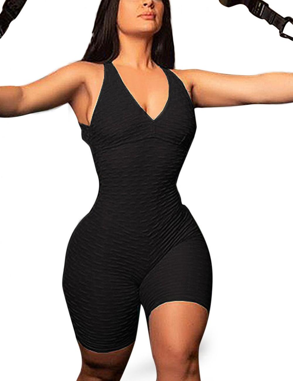 Black Deep V Neck Pure Color Jumpsuit Active Breathable