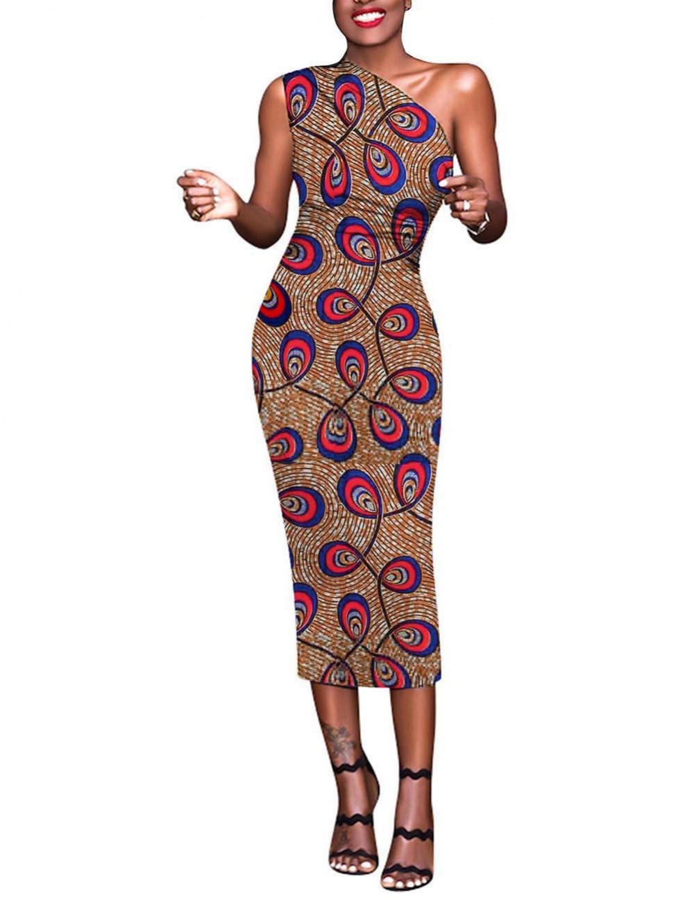 Formal Slant Shoulder Brushed Print Bodycon Dress Preventing Sweat