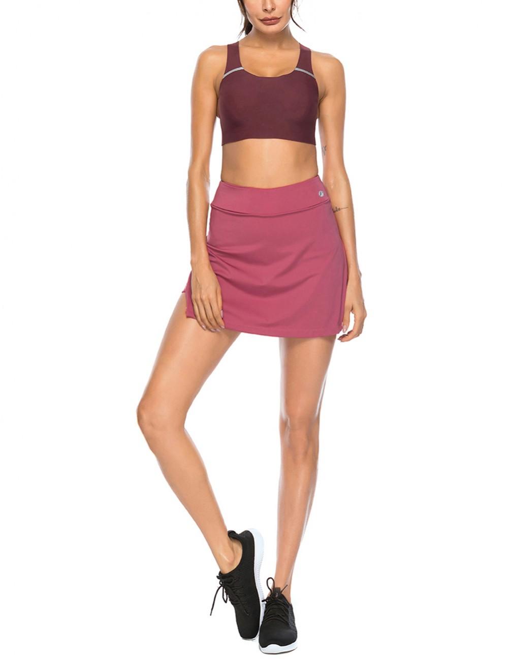 Moving Wine Red High Waist Slit Side Tennis Skirt Pocket For Female