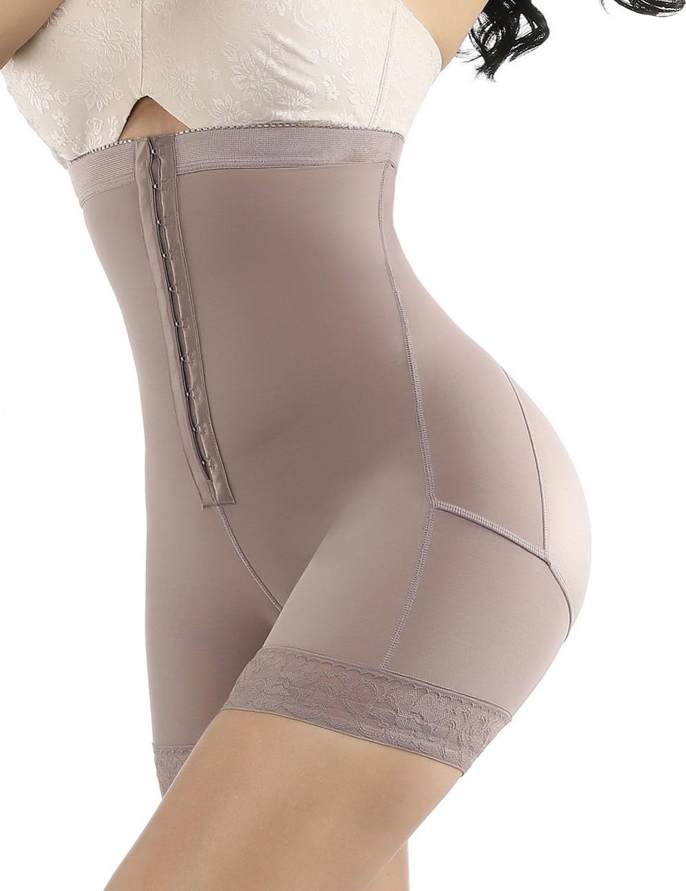 Brown Large Size High Waist Butt Enhancer Hooks Firm Compression