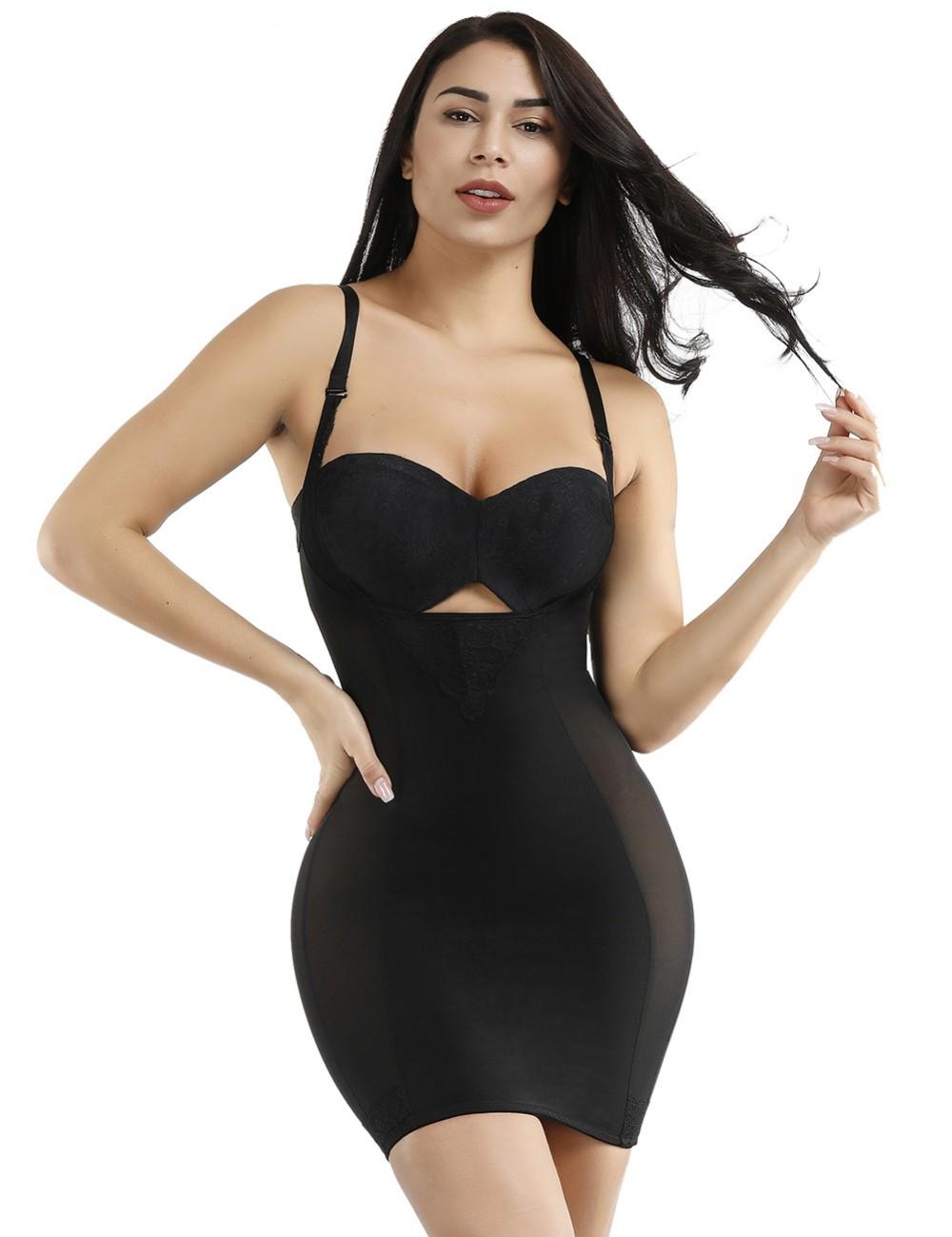 Graceful Black Lace Patchwork Mesh Underbust Large Size Slip