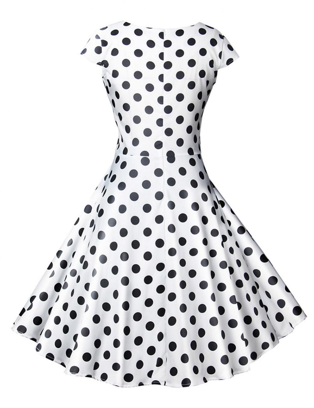 Pretty White Wrap Polka Dot Short Sleeve Skater Dress Zip For Ladies