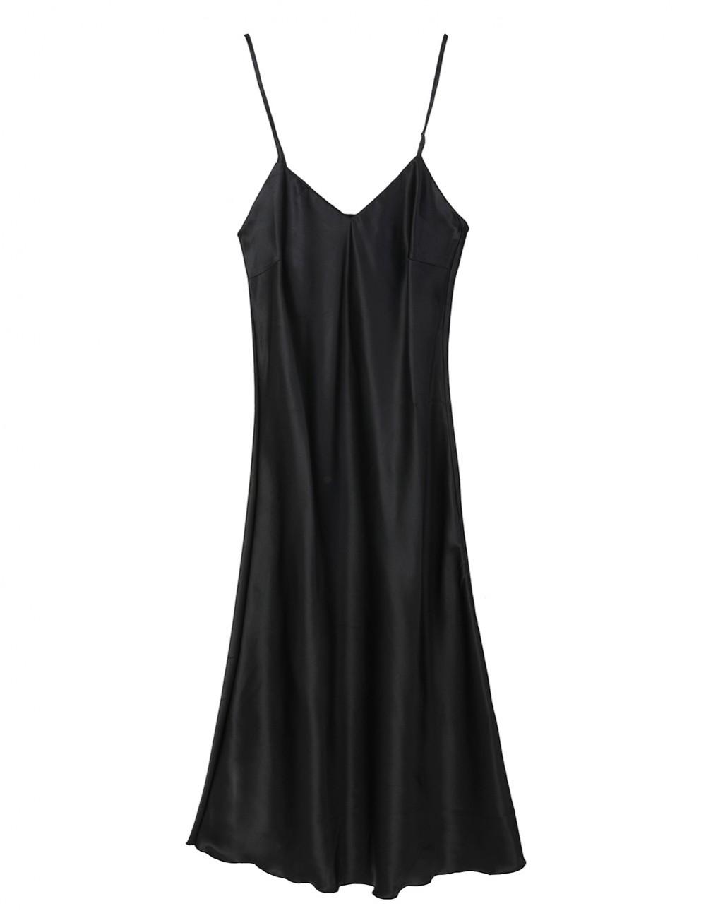 Angel Black Open Back V Neck Adjustable Strap Sleepwear Private Fashion