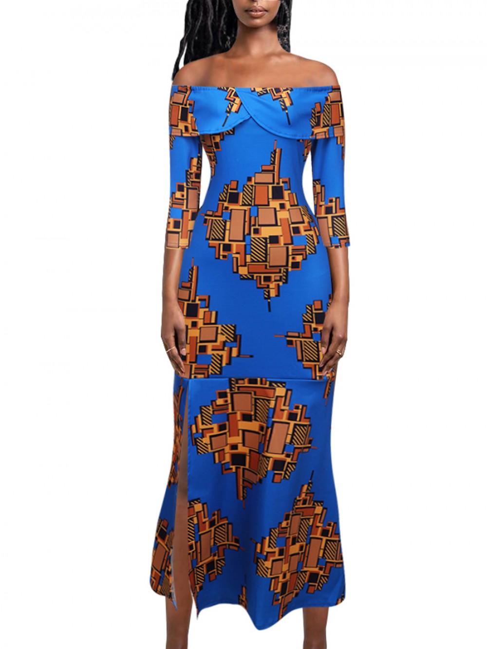 One Shoulder Zipper Side Slit Maxi Dress