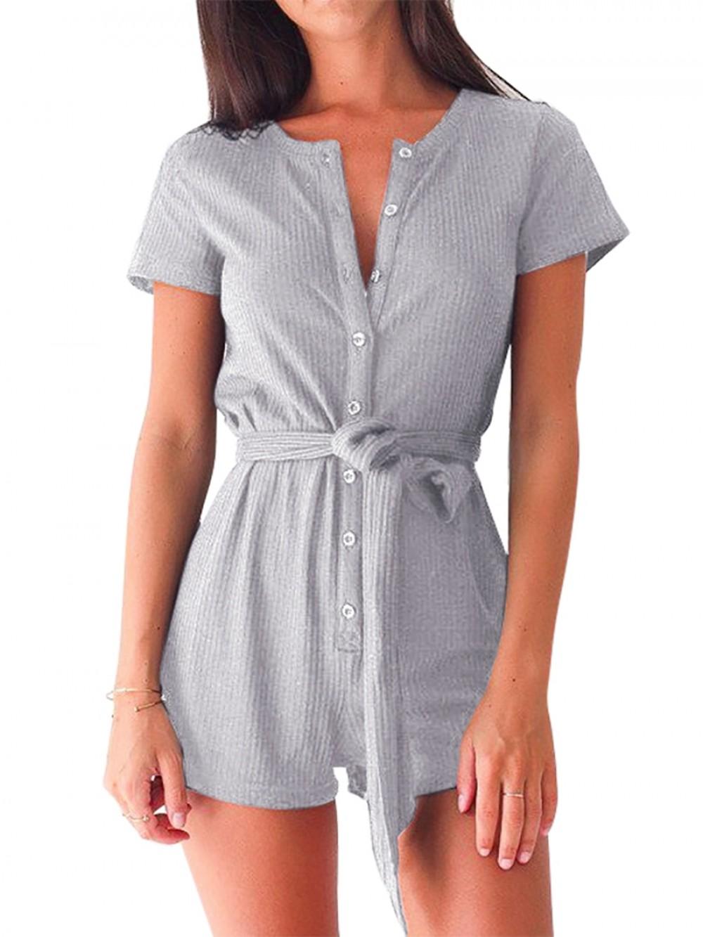 Gray Jumpsuit Button Front Mini Length