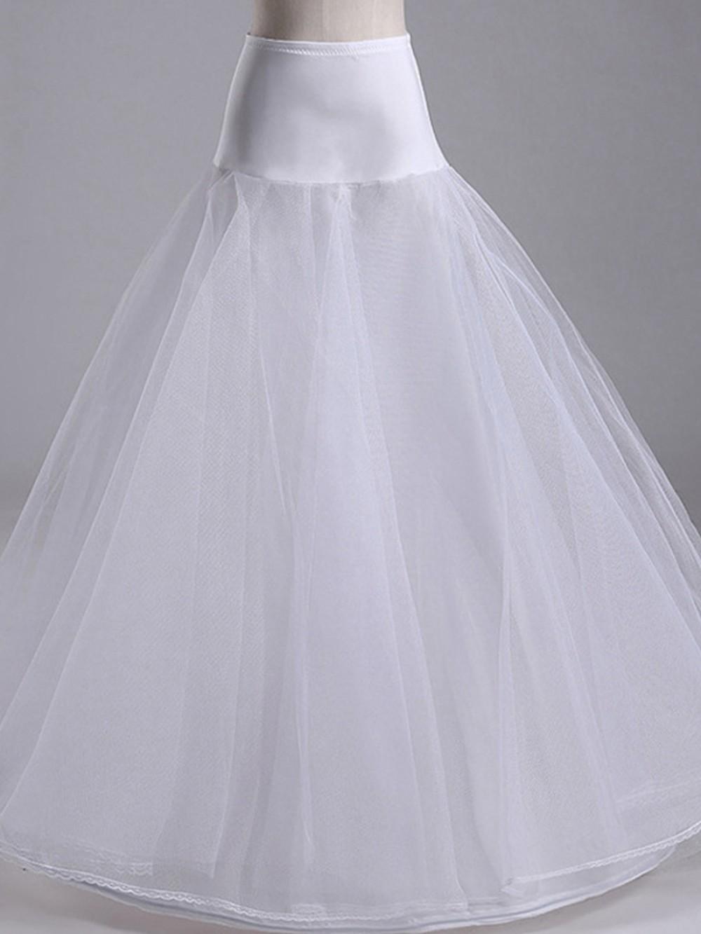 White A-Line Mesh Wedding Dress High Waist