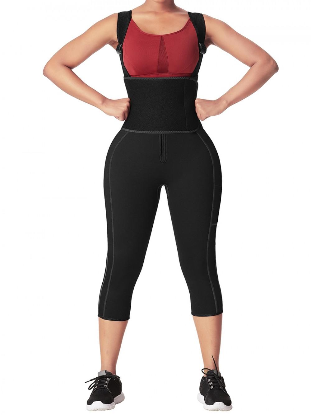 Black Neoprene Full Body Shaper Zipper With Adjustable Straps Fat Burning