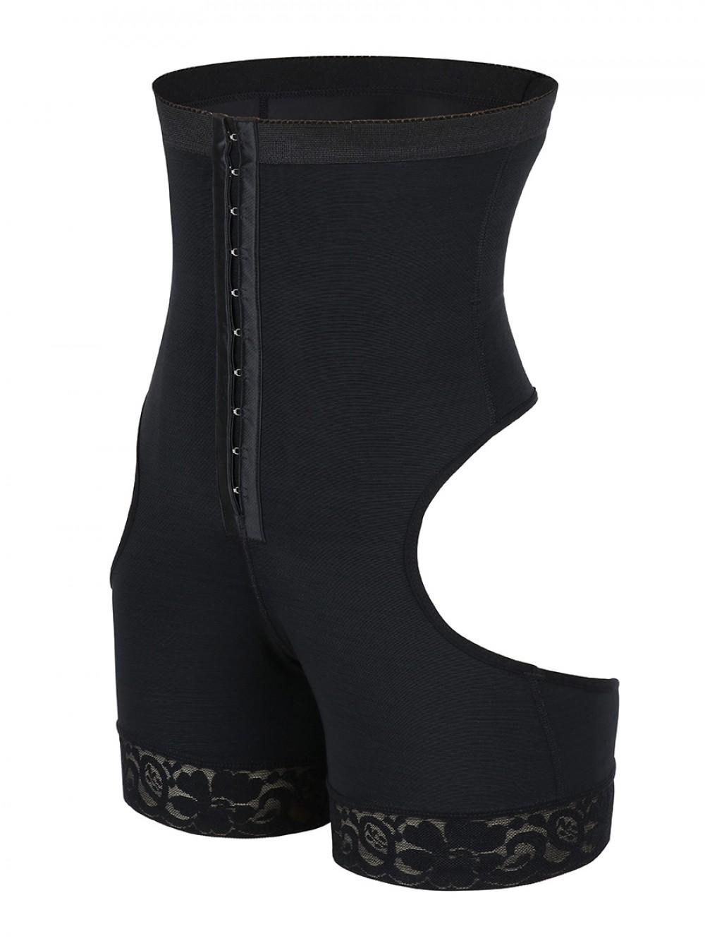 Black High Waist Open Butt Shapewear Shorts Hourglass Figure