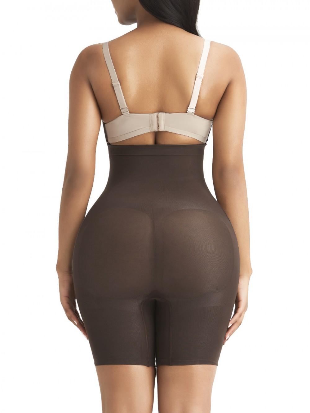 Abdominal Slimmer Dark Brown Seamless Buckle Butt Enhance Plus Size