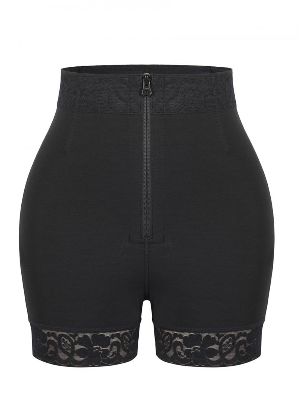 Black Front Zipper Butt Lifter Shorts High Waist Hourglass Figure