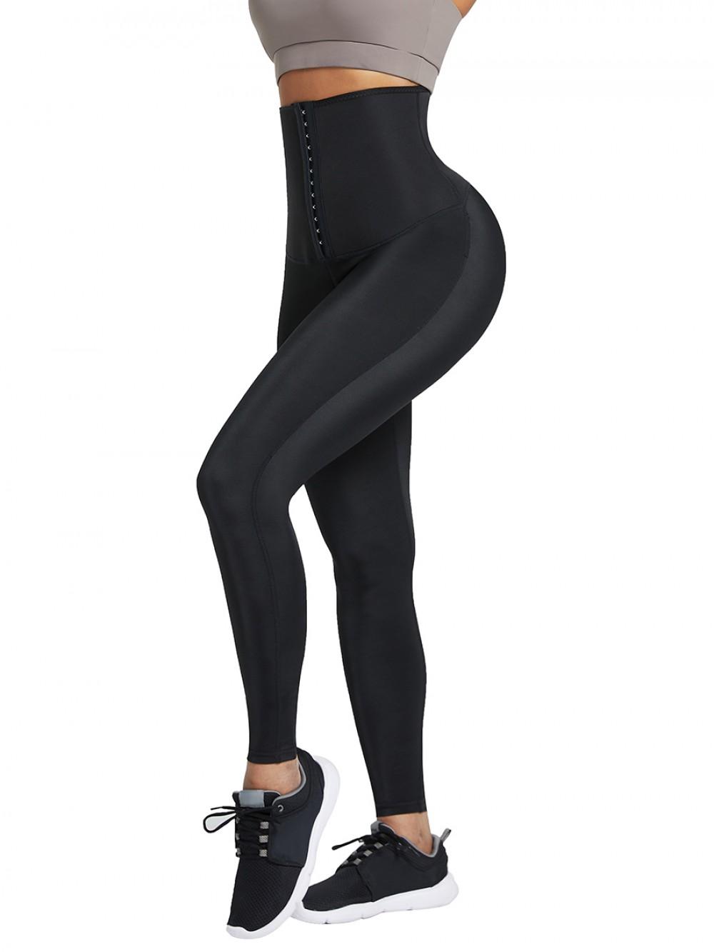 Dark Blue Neoprene Leggings Shaper 3 Rows Hooks High Rise Fitness