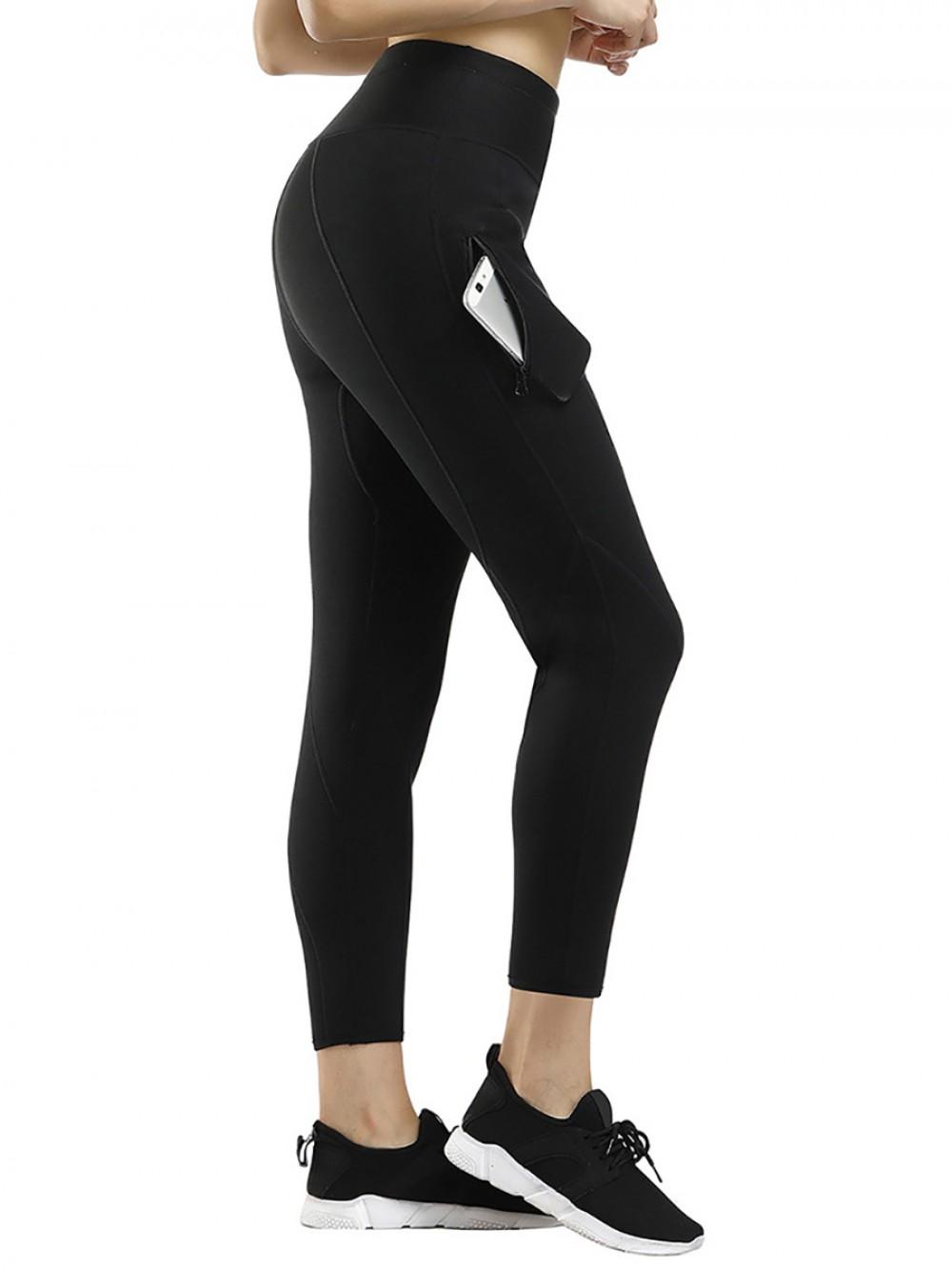 Compression Black Mesh Patchwork Pocket Neoprene Shaper Pants