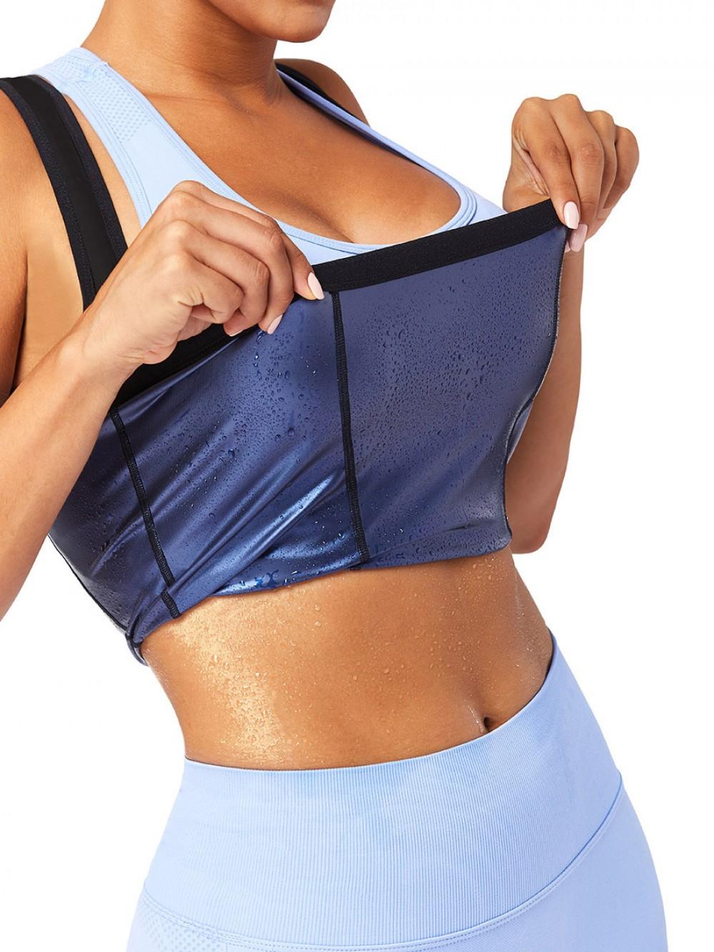 Blue Plus Size Wide Strap Sweat Vest Fat Burning