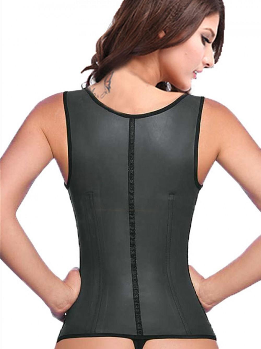 9 Steel Boned Black Latex Waist Trainer Vest With Straps Smooth Abdomen