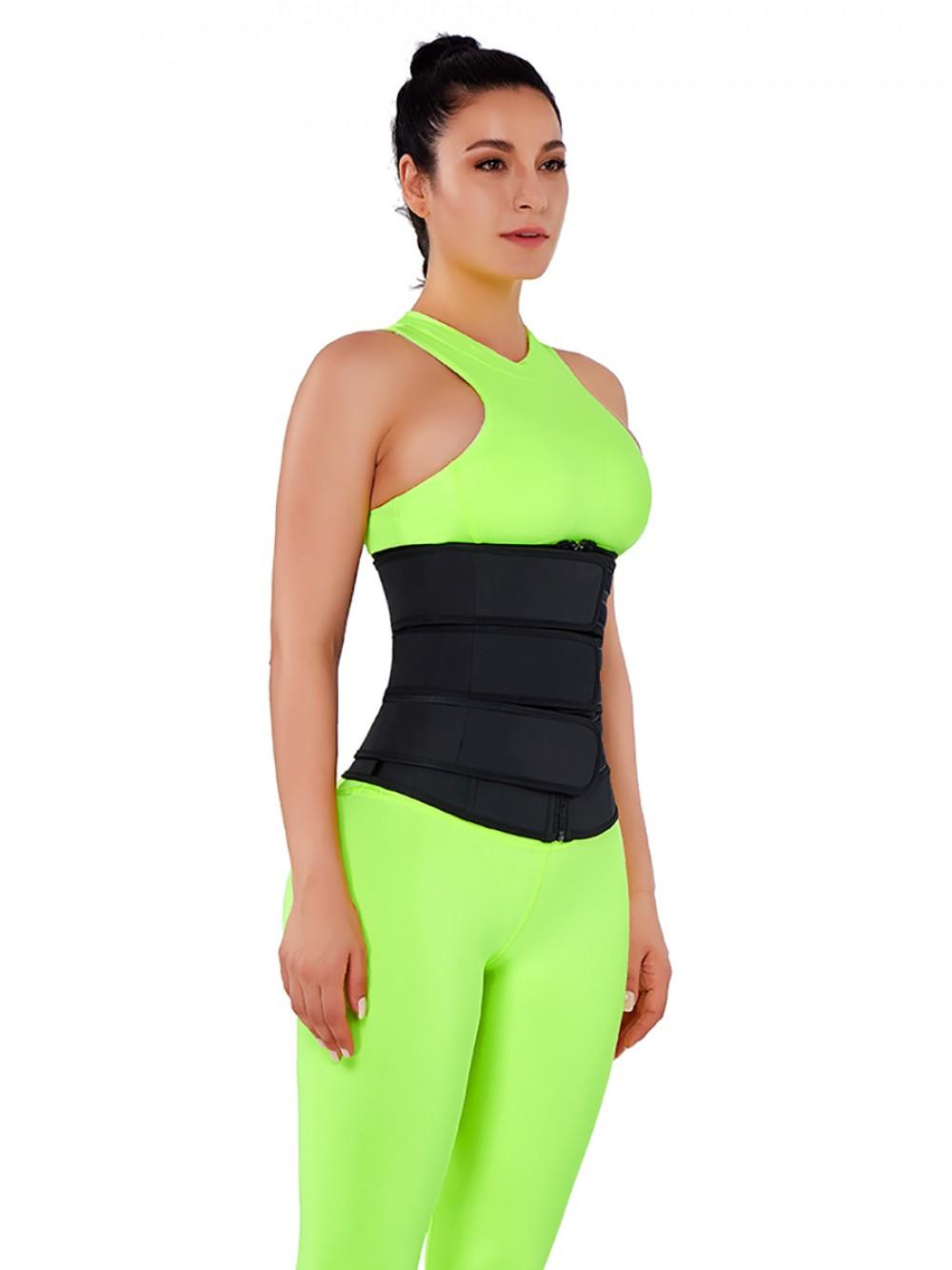 Slimming Stomach Black Three Belts Latex Waist Trainer Big Size