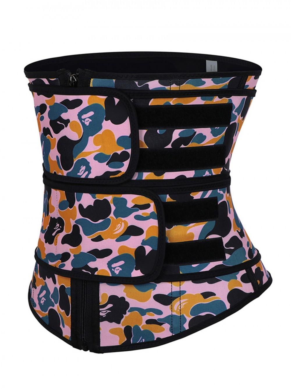 Lose Weight Sticker Latex Waist Cincher Double Belts Zipper Hourglass Figure