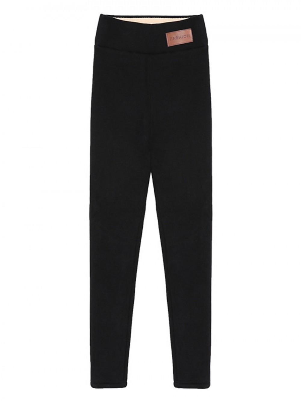 Black Fleece Lined Leggings High Waist Full Length