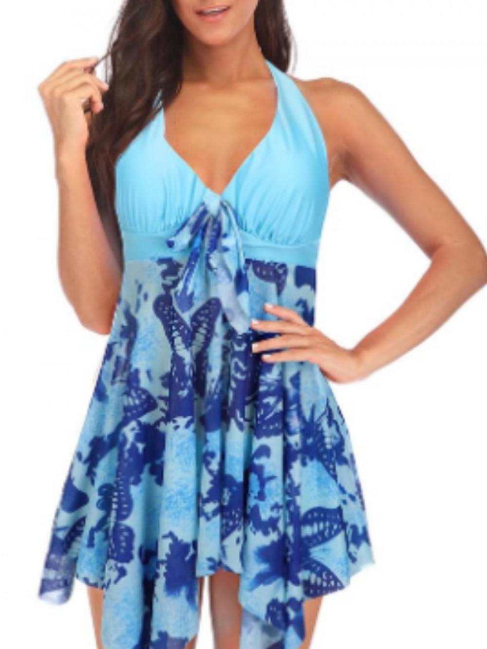 Blue Two Piece Swimsuit High Waist Colorblock Irregular Hem