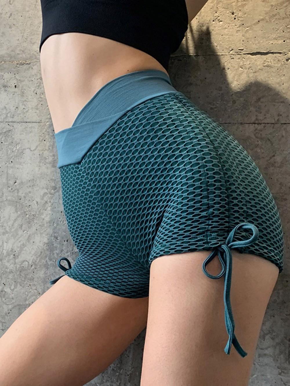 Sassy Lake Blue Side Lace-Up Yoga High Waist Shorts Ladies