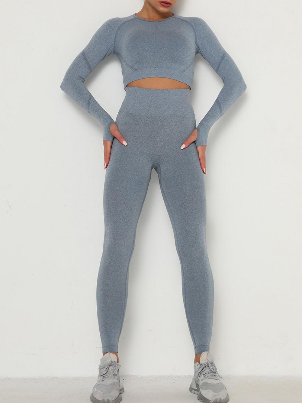 Anti Slip Blue Long Sleeve Top High Waist Leggings For Exercise