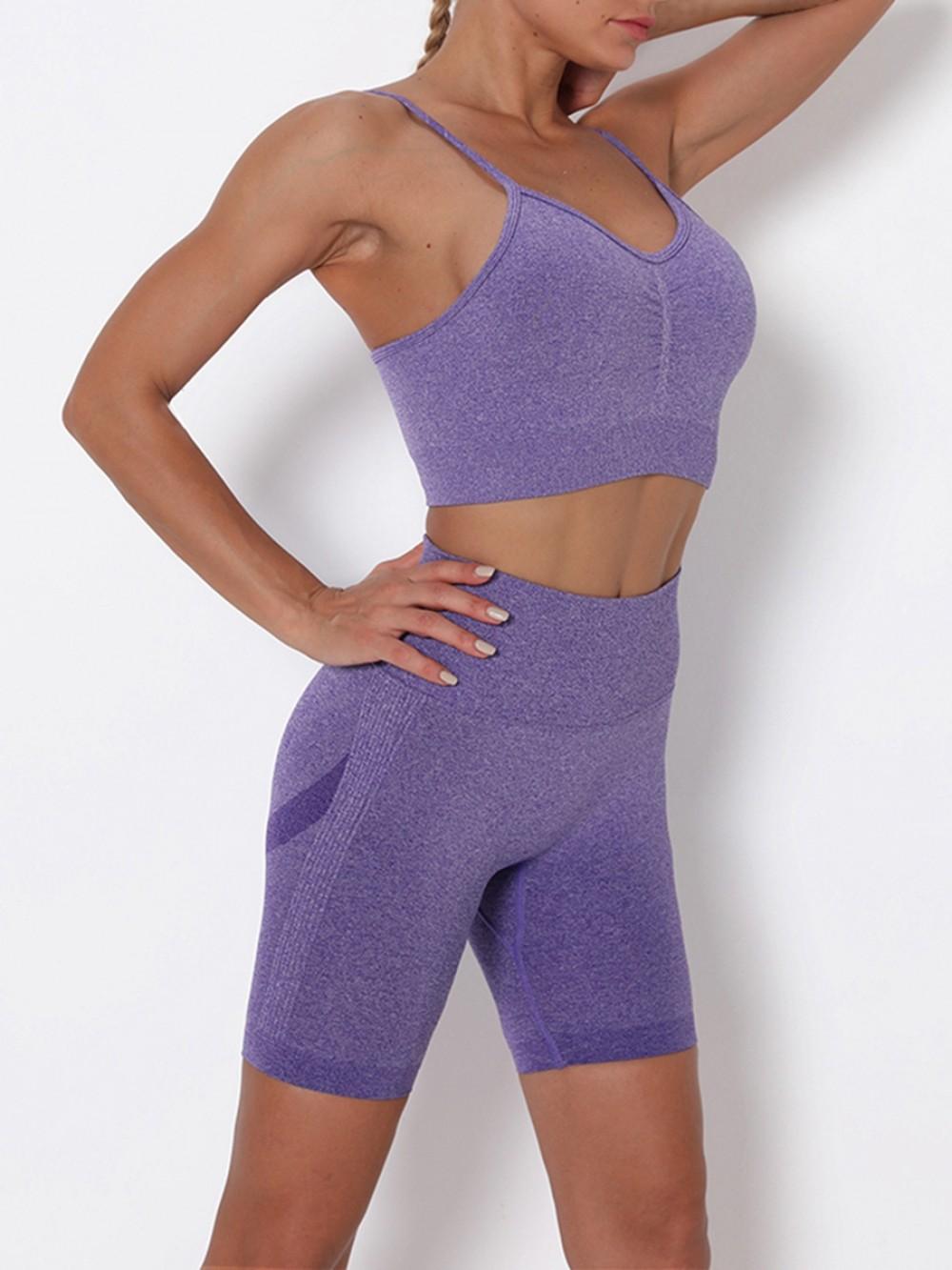 Purple Sling Cropped Bra Thigh Length Leggings Kinetic Weekend