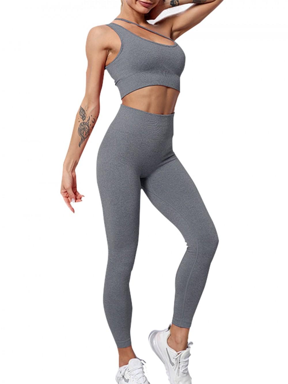 Gray Slanting Straps Yoga Bra Seamless Leggings Absorbs Moisture