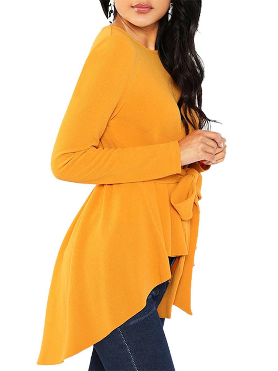 Lavish Yellow Round Neck Waist Tie Shirt Full Sleeve Womens Apparel