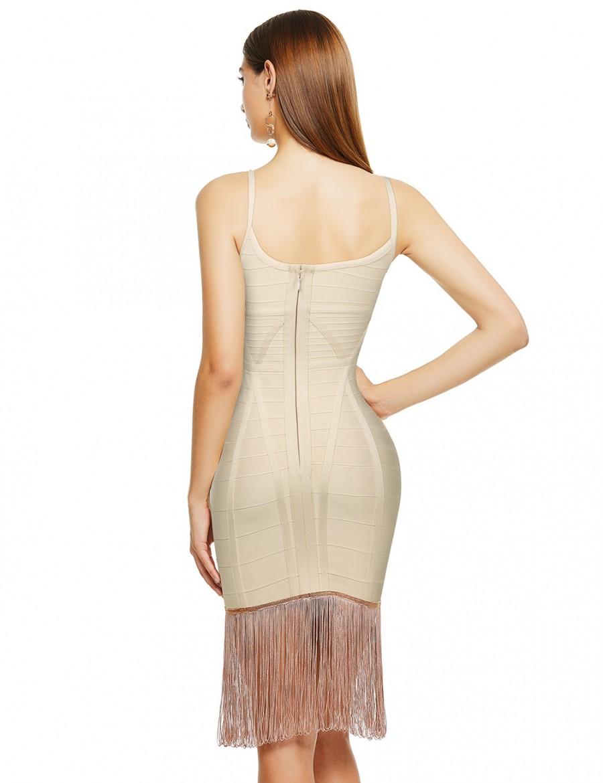 Smooth Beige Cross Neck Tassel Hem Bandage Dress For Sauntering