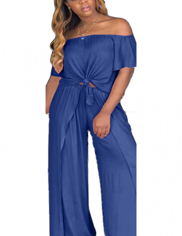 Ultimate Fit Navy Blue Split Vent Crop Wide Leg Pants Set