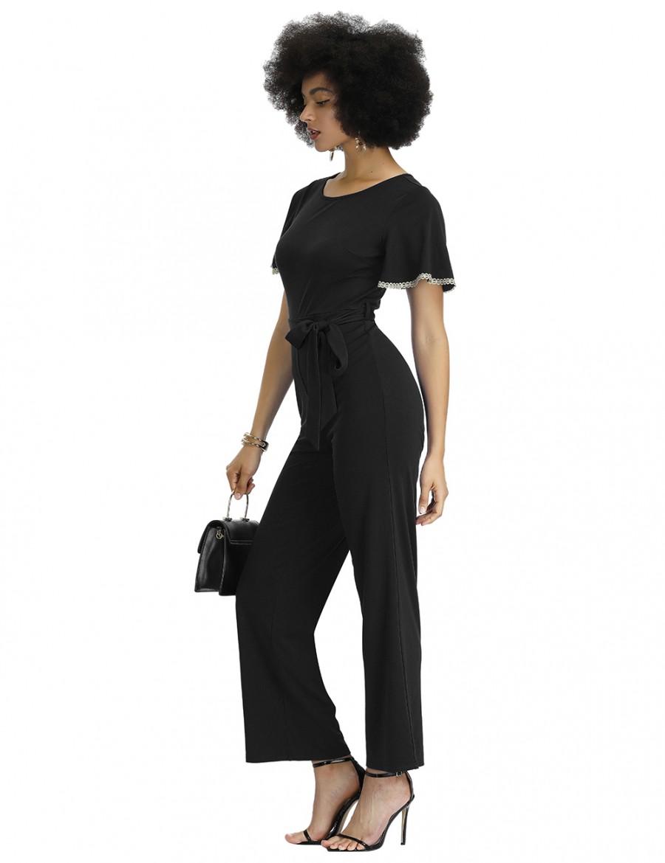 Noble Black Round Collar Waist Belt Plain Jumpsuit Shop Online