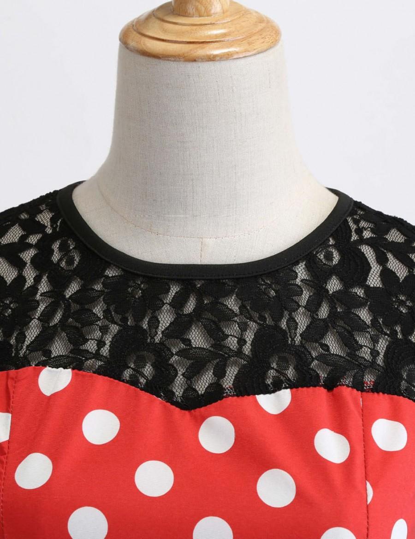 Fairy Dot Lace Round Neck Hollow Zipper Skater Dress Unique Fashion
