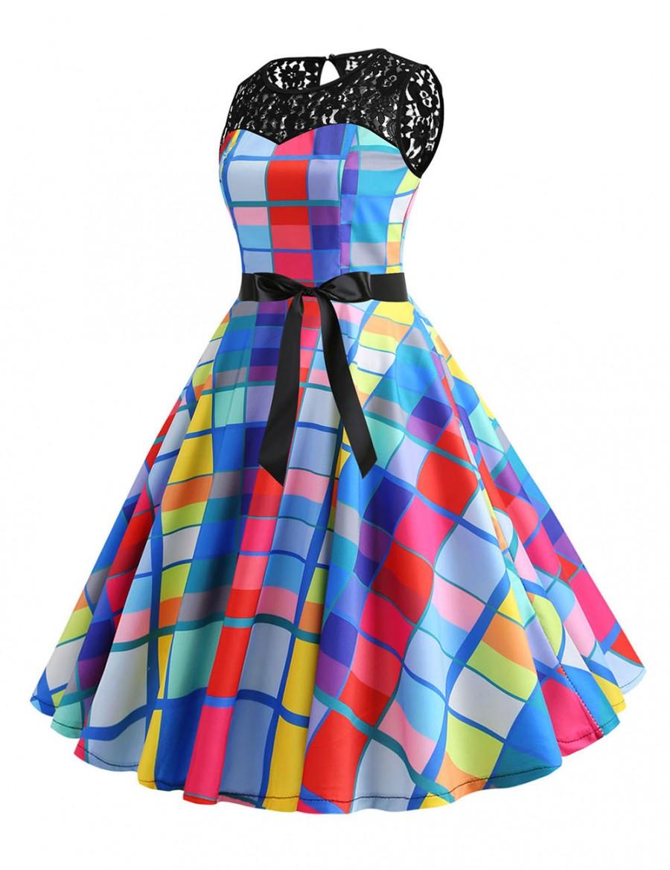 Premium Plaid Button Tie Lace Flare Hem Skater Dress Good Elasticity