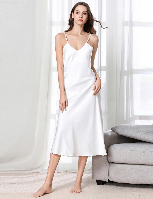 Aphrodisiac White Slender Strap Faux Silk V Neck Sleepwear Modern Fit