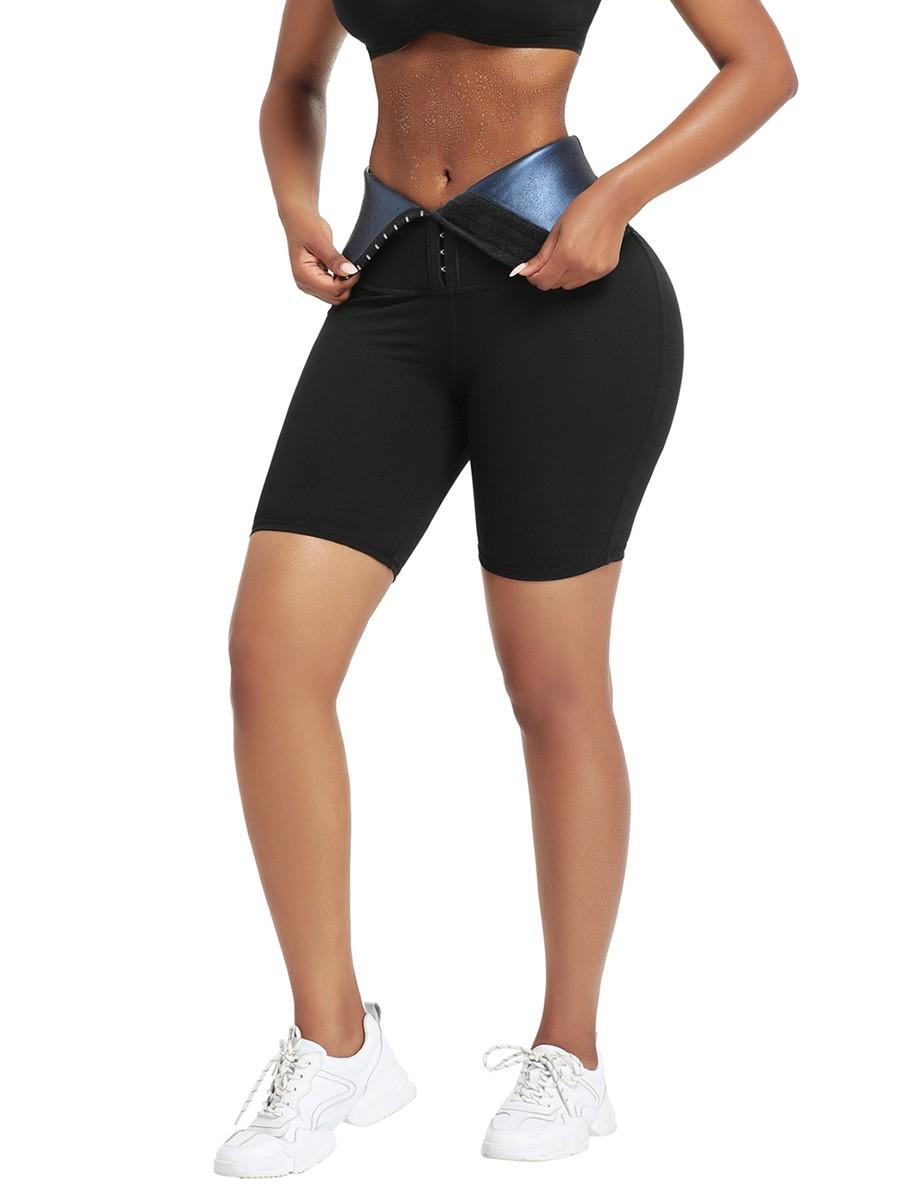 Dark Blue High Rise 3 Rows Hooks Neoprene Waist Trainer Shorts For Training