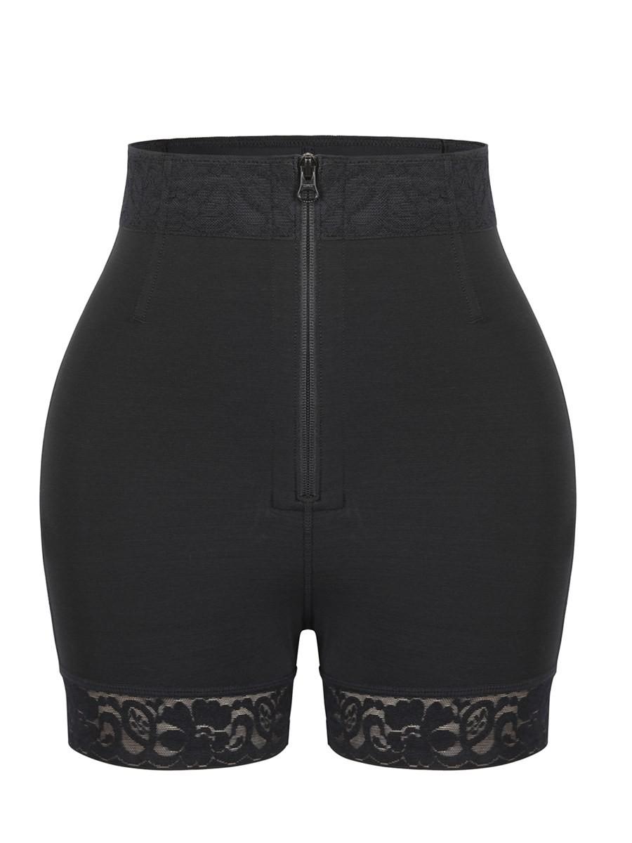Black Front Zipper Butt Lifter Shorts High Waist Slimming Waist