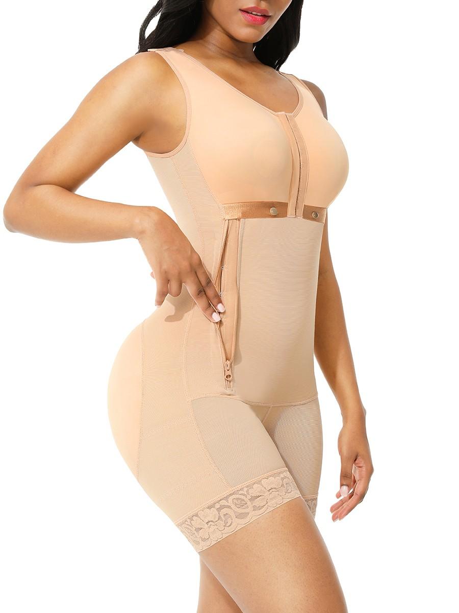 Deep Skin Color 3 Rows Hooks Adjustable Strap Body Shaper Flatten Tummy