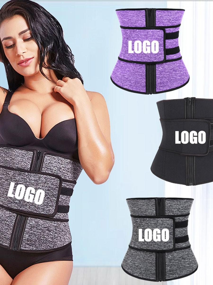 Black Front Zip And Belt Neoprene Waist Trainer Tummy Trimmer
