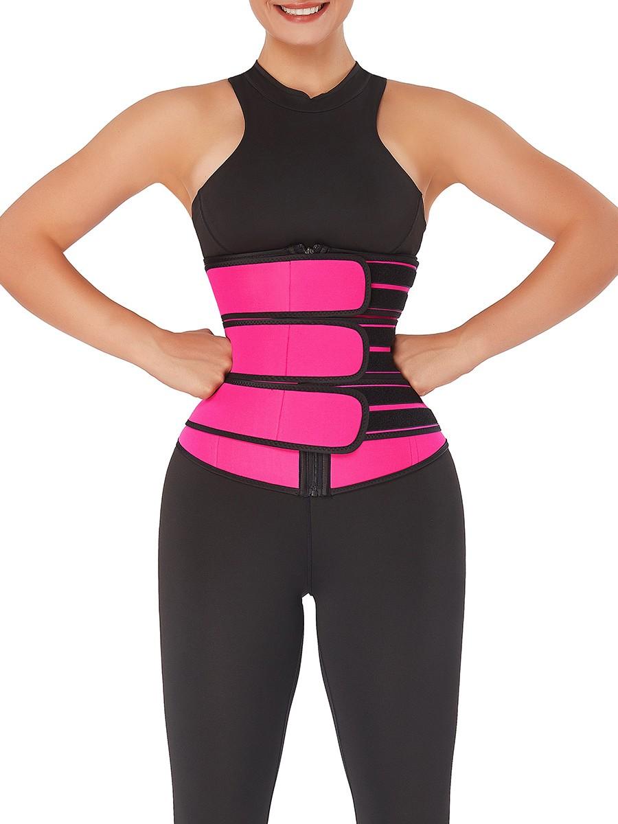 Workout Rose Red Zipper Neoprene Waist Cincher Slimming Waist