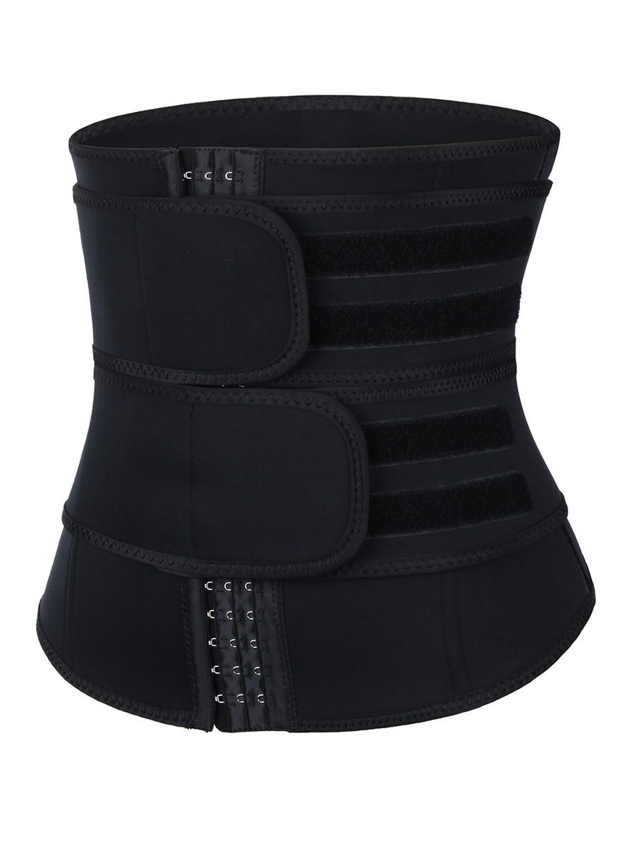 Tummy Trimmer Black Neoprene Double Belt Waist Trainer Hooks