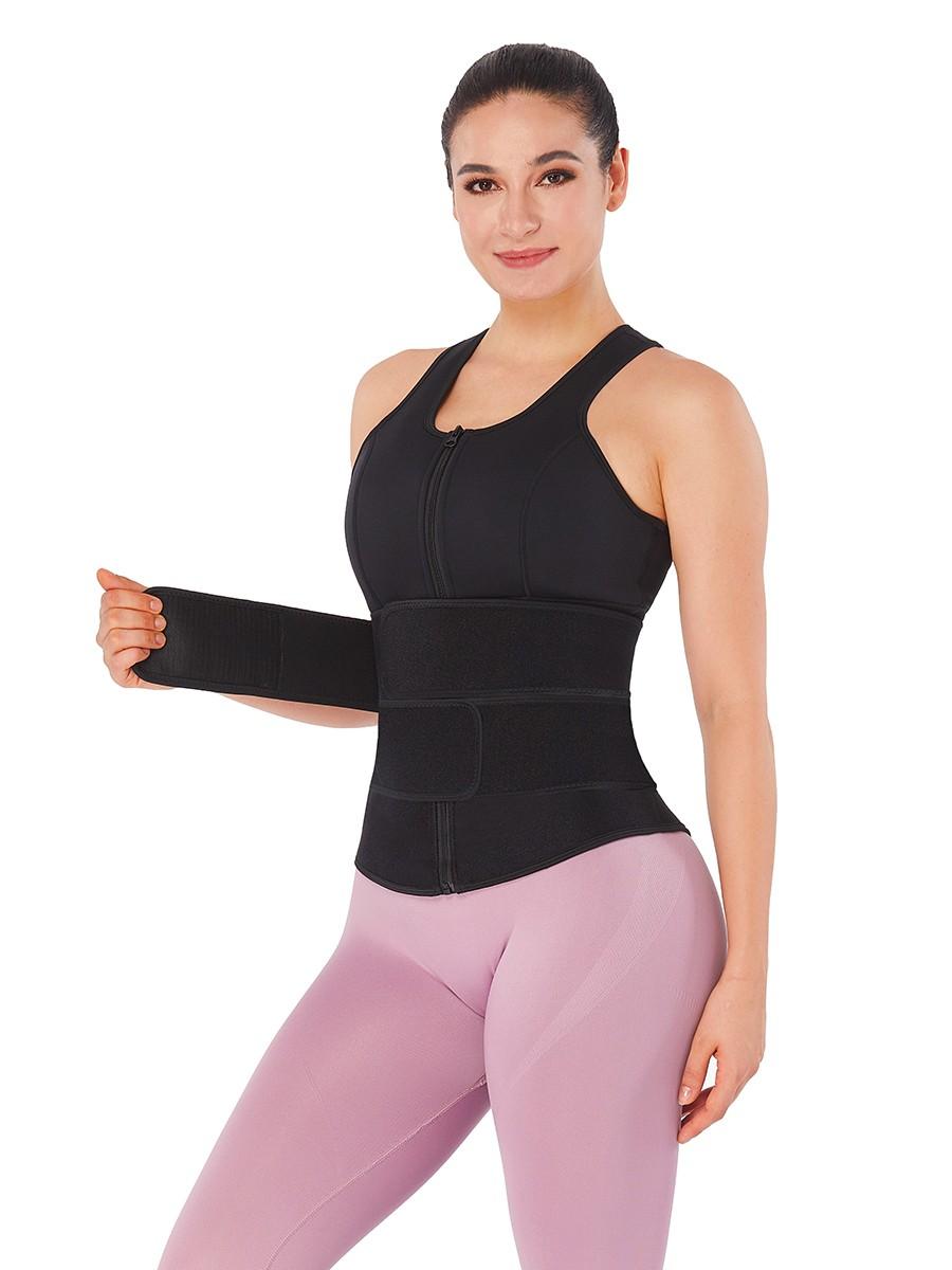 Black Neoprene Waist Trainer Vest Adjustable Belts Fitted Curve