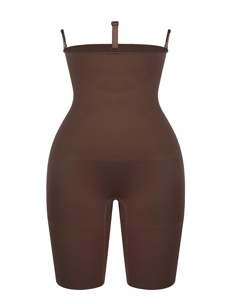 Deep Coffee Seamless Tummy Firm Control Shorts Shapewear Elastic