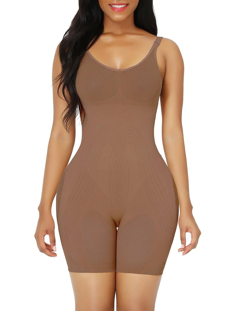 Light Coffee Best Plus Size Full Body Shaper Open Crotch Secret Slimming