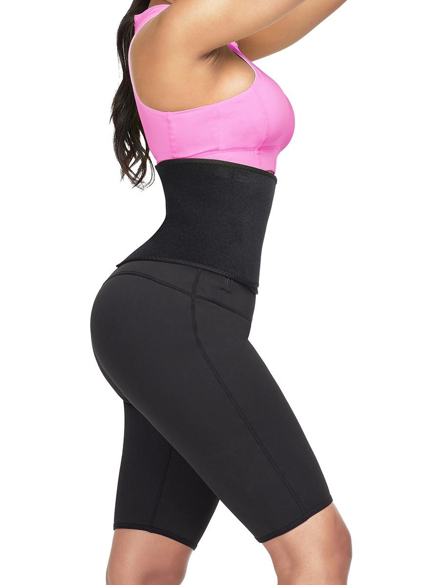 Rose Red High Rise Neoprene Body Shaper Shorts Fat Burning