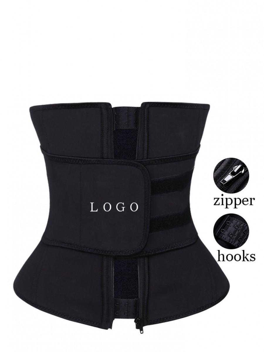 Black Zipper Hook Latex Waist Shaper Queen Size Smooth Abdomen