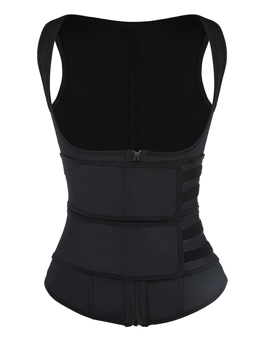 Black Latex Double Belts Waist Trainer Vest Waist Control