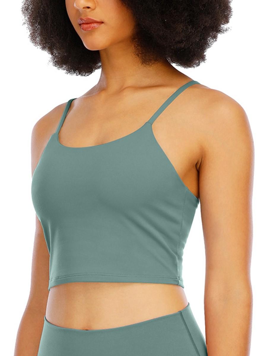 Light Green Wirefree Padded Yoga Bra For Women Runner